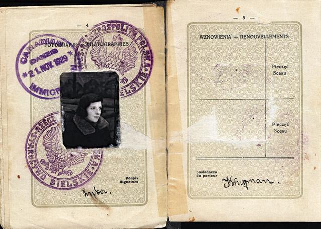 Paszport emigrującej z Białowieży w 1929 roku Lilly Krugman, ze zbiorów rodziny