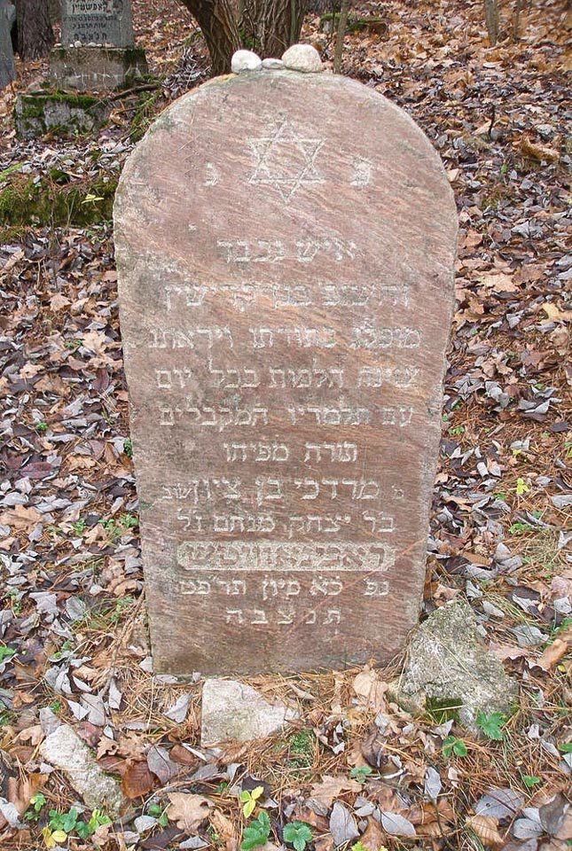 Jewish cemetery in Narewka, the grave of Mordechaj Rabinowicz, photo from the website http://cemetery.jewish.org.pl