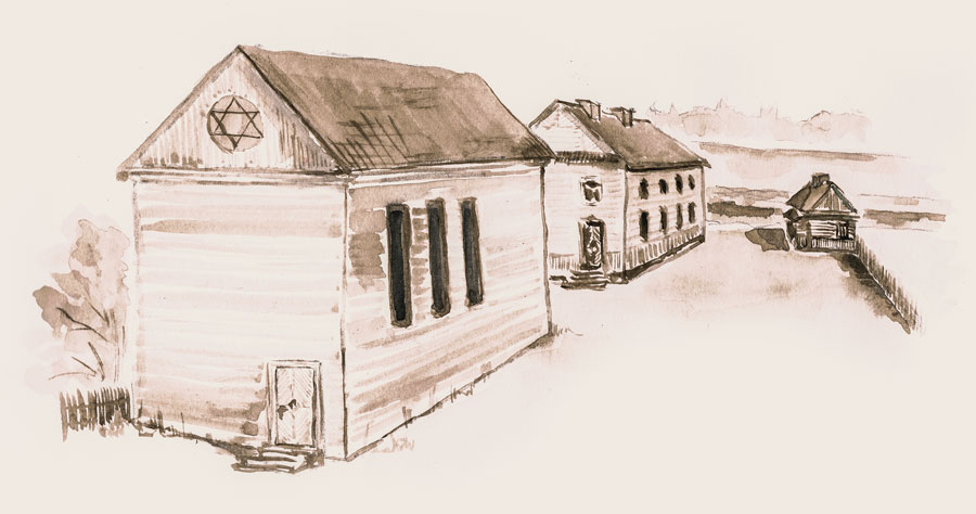 Synagogue complex, school, bathhouse - the picture based on Jan Sawicki's description by Paweł Winiarski