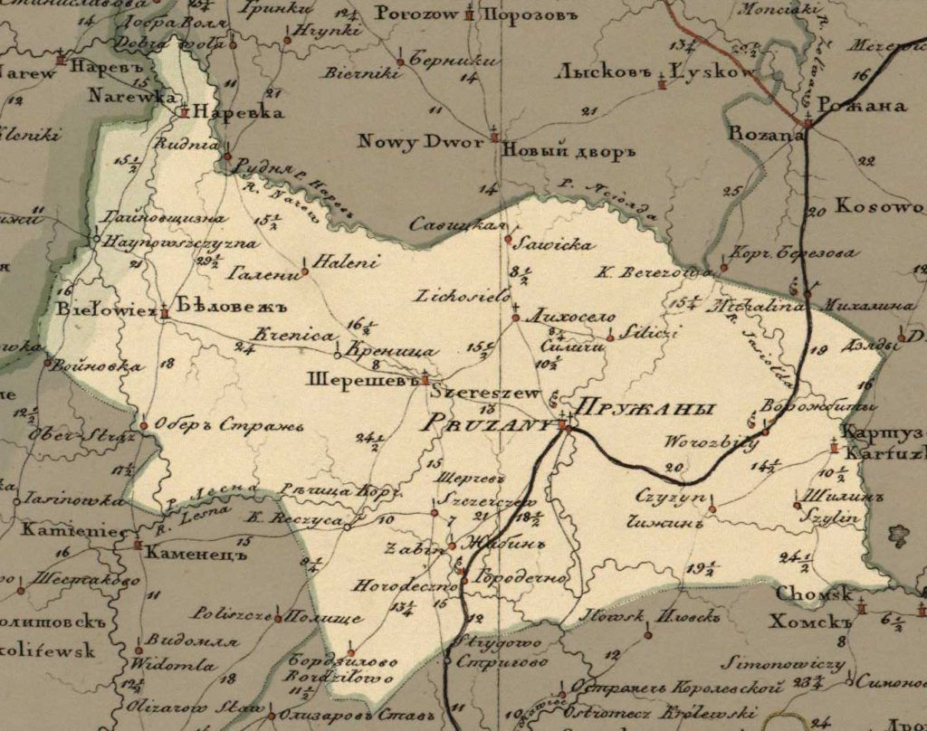 Map of the gouvernate and the Pruzhany county 1820 (www.radzima.org.pl)